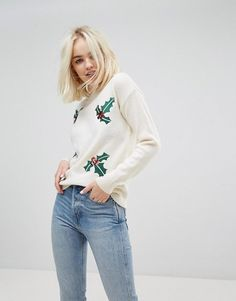 #ASOS - #New Look New Look Sequin Embellished Holidays Sweater - Cream - AdoreWe.com