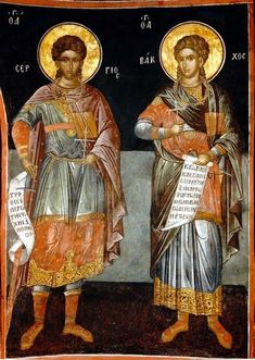 Orthodox icon of Saints Sergius and Bacchus (Sergios and Vachos), by Theophanis the Cretan (1545), Monastery of Dionysiou Mount Athos. Commemorated October 7th.