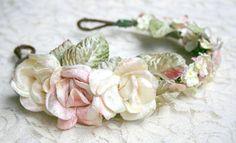 Blush Pink and Cream Flower Crown Headband, romantic, bridal  boho, shabby chic, fashion, wreath, rustic, halo, fairytale, photo prop