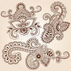 Henna Mehndi Tattoo Paisley Floral Doodle Vector Elements Royalty Free Stock Vector Art Illustration