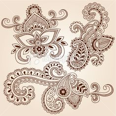 Henna Mehndi Tattoo Paisley Floral Doodle Vector Elements Royalty Free Stock Vector Art Illustration