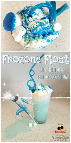 Celebrate the end of a 14 year wait for Incredibles 2 with a Frozone Float! All the colors of your favorite Super Suit in one delicious float! How to make this blue ice cream float and garnishes to make this frozen treat really stand out! Blue Food | Disney | Disney Food | Ice Cream treat #Incredibles #incredibles2 #disneyfood #DisneyMom #disney #kidstreat #treats #floats #icecreamfloats #bluefood #blue