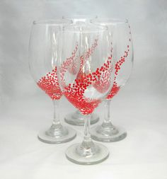 """WIne Goblets, handpainted in red, set of 4 ($55.00 for the set)   Handpainted by Etsy seller """"Jennifer Turcotte Handcrafted Designs"""""""