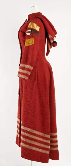 Coat: ca. 1886, American, wool, silk, cotton brass.