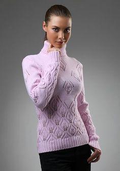 Розовый свитер спицами с узором листья. Модный джемпер спицами с высоким горлом   Я Хозяйка