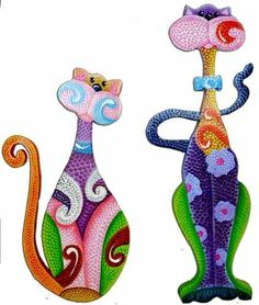 gatos en puntillismo - Just love these little buggers! Dot Painting, Fabric Painting, Stone Painting, Dog Quilts, Cat Quilt, Arte Country, Wood Cat, Cat Colors, Cat Crafts