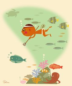 A fisherman in Okinawa fishes by homemade swimming goggles. illustration by Seitarou Shima