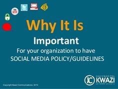 Does your company have Social media Policy or guidelines for usage? If not, this is a must read. Learn more about how Social Media Policy/guidelines can prevent crisis, save you time and money.    www.kwazicommunications.co.za Media Literacy, Save Yourself, Social Media, Money, Learning, Silver, Studying, Teaching, Social Networks