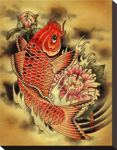 "Koi fish are the domesticated variety of common carp. Actually, the word ""koi"" comes from the Japanese word that means ""carp"". Outdoor koi ponds are relaxing. Geisha Tattoos, Wolf Tattoos, Art Tattoos, Sleeve Tattoos, Bicep Tattoos, Cross Tattoos, Tatoos, Carpe Koi Japonaise, Stretched Canvas Prints"