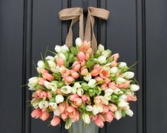 Tulips Farmhouse Door Wreaths Tulips Mother's Day Wreath Easter Wreaths Easter Tulips Trending Wreath You can find this gorgeous tulip bucket along with my French Inspired Lavender Bucket in Front Door Design, Front Door Decor, Wreaths For Front Door, Front Doors, Mesh Wreaths, Entry Doors, Front Porch, Tulip Wreath, Floral Wreath