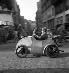 Saint Germain Boulevard, Paris by Maurice Zalewski, Boulevard Saint Germain, Paris by Maurice Zalewski, 1950 random beauty Vintage Motorcycles, Cars Motorcycles, Boulevard Saint Germain, Minis, Automobile, Microcar, Grand Caravan, Smart Car, Unique Cars