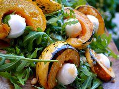 Harlequin squash and rocket salad with garlic vinaigrette