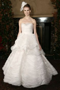 Austin Scarlett Fall 2014: ruched skirt, ballgown, chiffon wedding gown. The layers look like meringue.
