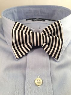 Black and white striped Bowtie / Bow Tie
