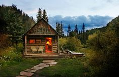 This might have to happen: Dunton Hot Springs, Dolores, Colorado. One of America's top all-inclusive hotels. Features 13 historic log cabins and cottages. Little Cabin, Little Houses, Tiny Houses, Guest Houses, Getaway Cabins, Cabins And Cottages, Log Cabins, Small Cabins, Mountain Cabins