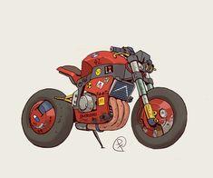 i saw akira again and well. Motorcycle Art, Bike Art, Arte Cyberpunk, Car Illustration, Automotive Art, Bike Design, Art Cars, Concept Cars, Cool Cars