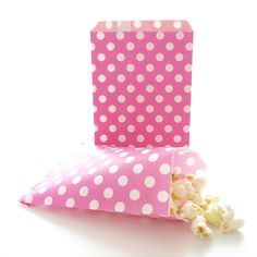 Girls Party Bags, Bridal Shower Favor Sacks, Valentine's Day Surprise Goodie Bags, Hot Pink Fuchsia Polka Dot Bags (25 Pack) * You will love this! More info here : Wrapping Ideas