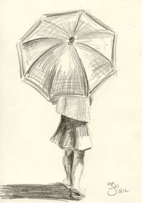 Girl with Umbrella - 4x6 - Pencil Study