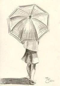 Girl with Umbrella - 4x6 - Pencil Study