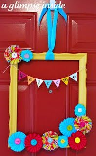 A Brightly colored frame tutorial - meant to use as a wreath, could put child's name or a short phrase instead of welcome.