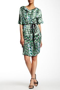 Short Sleeve Floral Silk Dress by Gerard Darel on @HauteLook