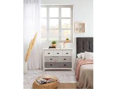 Commode 7 tiroirs MOANA pas cher Blanc, bleu et gris - 😍Découvrir ici - #meubleschambre #Commodepascher #CommodeBUT #Commode #rangement #chambre