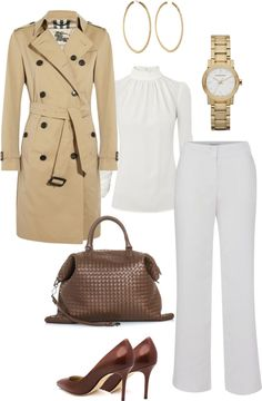 """Trench coat + white"" by julianawagner on Polyvore"