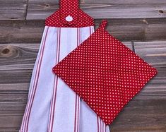 Excited to share this item from my shop: Hanging Kitchen Towel & Pot Holder Set - White Towel W/ Red Stripes + Red Square Pot Holder W/ Mini White Polka Dots Kitchen Towels Hanging, Hanging Towels, Red Towels, White Towels, Pot Holder Crafts, Pot Holders, Dish Towel Crafts, Handmade Kitchens, Kitchens