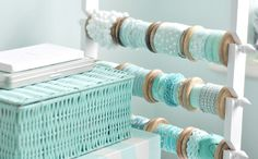 Ribbon storage by toriejayne, via Flickr - LOVE these colors, not very practical but super gorgeous.  Good for special event or wedding also