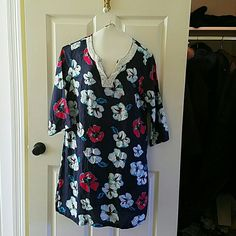 Talbots Linen Swim Coverup SALE! 25% OFF BUNDLES 2 OR MORE! Talbots Navy Linen Swim Coverup with flowers.  Can easily be worn as a dress.  Super comfy.  Flowing but not a tent.  Geneous Medium.  Fits like 10-12.  Great condition.  Worn a few times.  No damage. Talbots Swim Coverups