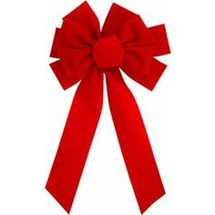 Deluxe 10 loop red flock bow with center loop. Color: Red, Length: Width: x Christmas Tree Bows, Xmas Ornaments, Xmas Tree, Christmas Lights, Gift Wrapping Bows, Xmas Decorations, Flocking, Happy Holidays, Holiday Decor