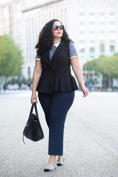 Peplum vest, collared blouse, wide leg cropped pants, slingback flats and Celine Phantom worn by Tanesha Awasthi of Girl With Curves.