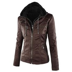 Paris Hill Women's PU Leather Jacket Zip Up Pockets Biker Jacket | Amazon.co.uk