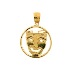 14K Yellow Gold Drama Mask, Laugh Now Pendant - 20 mm. Does not include chain. 30 Day Money Back Guarantee. Manufactured by JewelsObsession with the highest quality 14k yellow gold. Pendant Gram Weight: 1.3 / No Chain. Pendant Dimension: Length: 20 mm x Width: 15 mm.