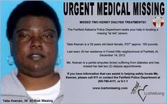 Tatia Keenan MEDICAL Urgent Needs, MISSING - 14 Dec 2012 - Fairfield Alabama
