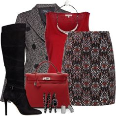 Skirt & Boots by derniers on Polyvore featuring P.A.R.O.S.H., Derek Lam, GUESS, Hermès, Chanel, Robert Lee Morris, Chico's, women's clothing, women's fashion and women