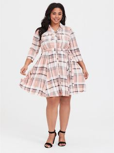 9ea4c0495fd Plus Size Pink Plaid Challis Shirt Dress