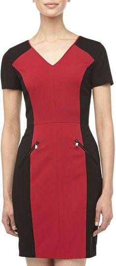 Marc New York Colorblocked Zipper Detailed Dress, Raspberry on shopstyle.com