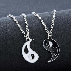 If you are looking for a unique piece of jewelry, this set of two necklaces with pendants is just perfect for you. They are a truly romantic yet classic pieces of jewelry. You can share them with your partner - together they make a perfect match just like Yin and Yang.