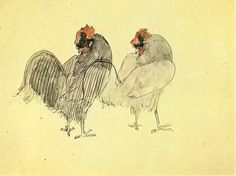 """Two roosters - Pablo Picasso, 1905 artworks tagged """"hens"""" - WikiArt.org"""