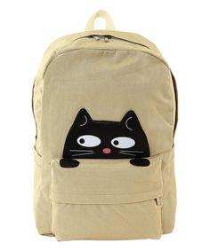 Look what I found on #zulily! Sleepyville Critters Beige Peeking Cat Backpack by Sleepyville Critters #zulilyfinds