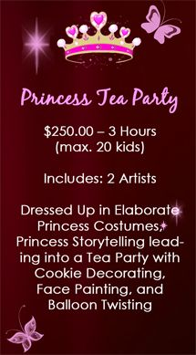 A-Star Art Parlour   $160.00 - 2 Hours, 1 Artist (dressed as Cinderella), Face Painting  Balloon Twisting