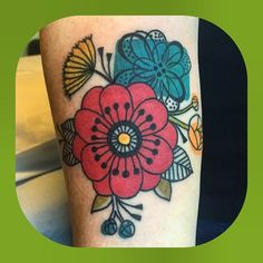 Tattoo artist: Jennifer Trok  Mid century modern inspired flowers