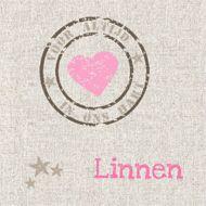 Stijlvolle rouwkaart voor baby en kind met stempel 'voor altijd in ons hart' op linnen achtergrond