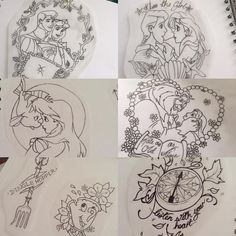 Still got plenty of Disney designs up for grabs, would really like to do these! Get in touch ☺️ #tattoo #tattoodesign #disney #disneytattoo #cute #tattooartist #sleepingbeauty #thelittlemermaid #beautyandthebeast #chip #dinglehopper #girlytattoo #thelucky7tattoostudio #romford