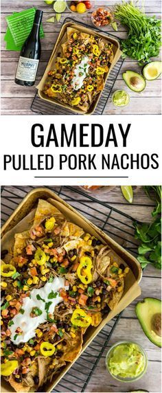 gameday pulled pork nachos are the winning appetizer to serve up while cheering on your team to a victory! Pork Recipes, Mexican Food Recipes, Cooking Recipes, Healthy Recipes, Nacho Recipes, Barbecue Recipes, Barbecue Sauce, Egg Recipes, Grilling Recipes