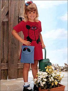 Little Girl's Ladybug Dress Set - free sewing pattern.