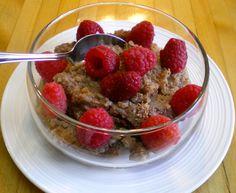 Chocolate-Banana Quinoa Pudding with raspberry decor