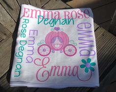 Personalized Princess Baby Blanket - Princess Receiving Blanket - Baby Name Blanket with Princess Carriage - Newborn Swaddling Blanket Baby Receiving Blankets, Soft Baby Blankets, Swaddle Blanket, Princess Carriage, Personalized Baby Blankets, Knot Headband, Baby Girl Gifts, Different Fabrics