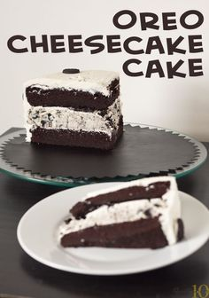 Oreo Cheesecake Cake by Erins Food Files plus a few other Oreo recipes Oreo Cheesecake Cake, Cheesecake Recipes, Dessert Recipes, Oreo Cake, Oreo Fudge, Cheesecake Pudding, Oreo Dessert, Fudge Brownies, Chocolate Cheesecake